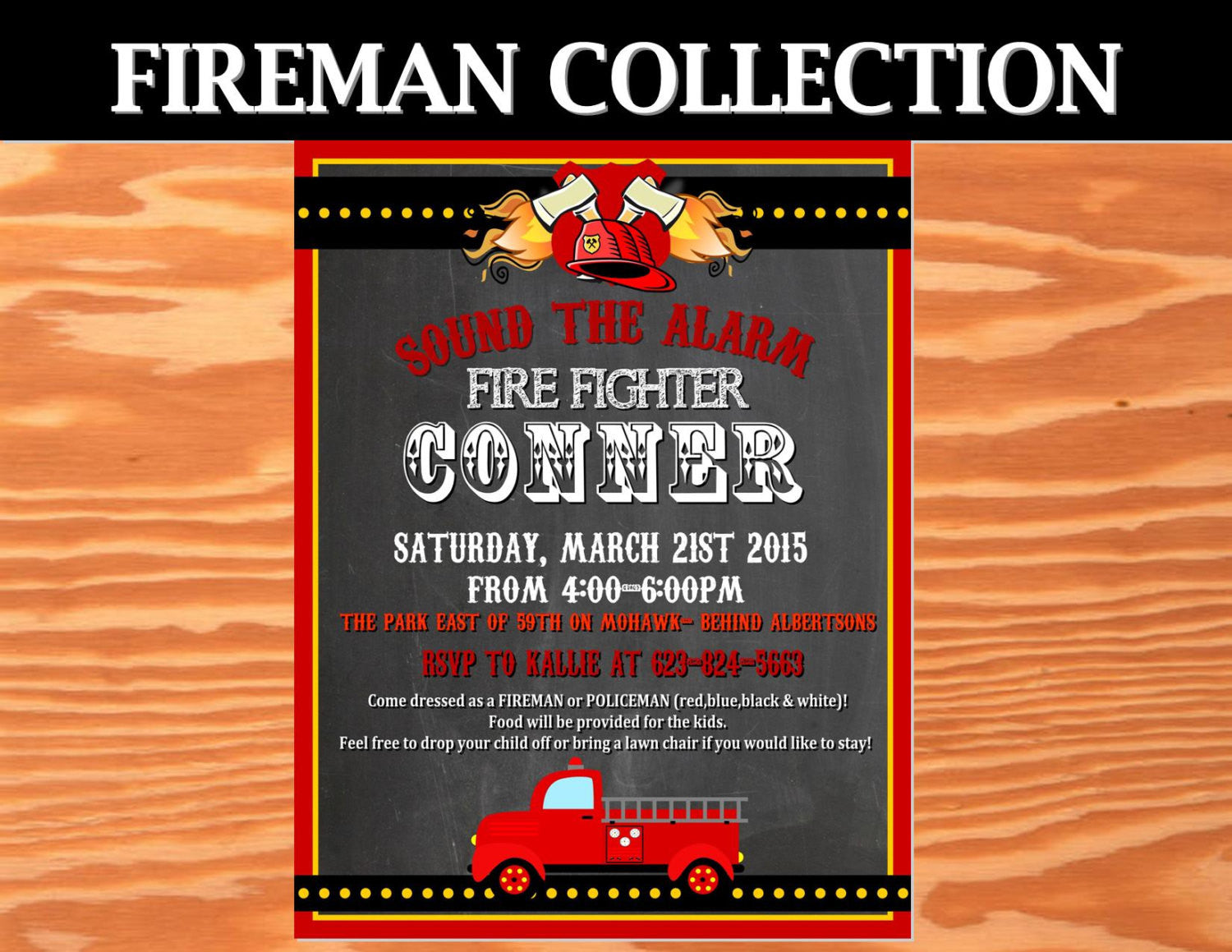 FIRE Fighter Birthday- Fire Fighter INVITATION- Fireman Party