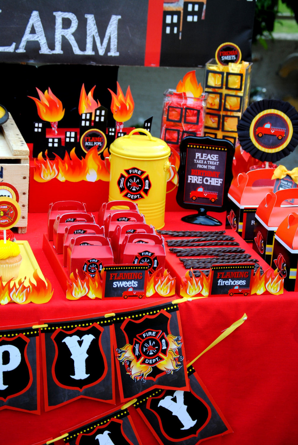 At 40 Party Decorations Fireman Birthday Fire Fighter Party Centerpiece Fire Krown
