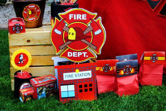FIREMAN Birthday Fire Fighter Party PHOTO BOOTH PROPS Fireman – Firefighter Party Invitations