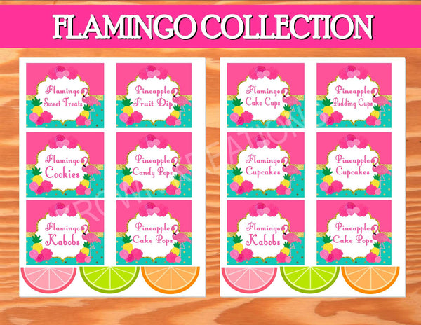 FLAMINGO Party - Flamingo Printables - Pineapple Party - Luau Party - Flamingo FOOD LABELS