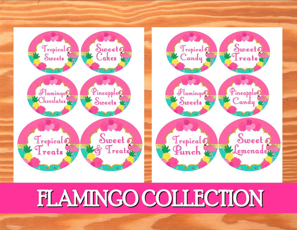 FLAMINGO Party -Flamingo Birthday - Flamingo CANDY LABELS- Pineapple - Luau Party