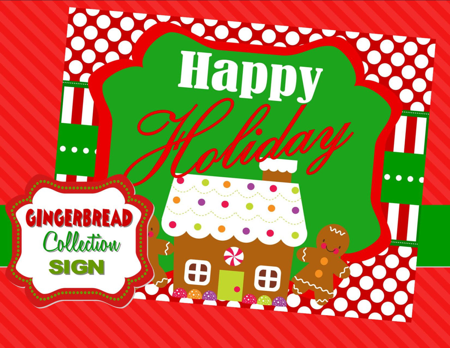 GINGERBREAD MAN CHRISTMAS-SIGN-PARTY-HOLIDAY