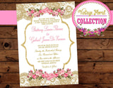 Pink and Gold -Invitation - Wedding INVITATION- Bridal Shower Invite