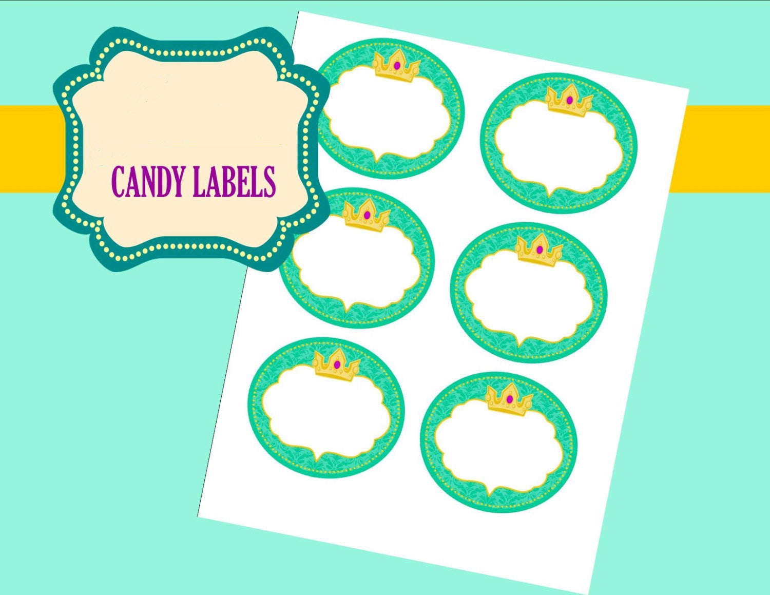 Princess Party - Princess CANDY LABELS - Jewel Candy