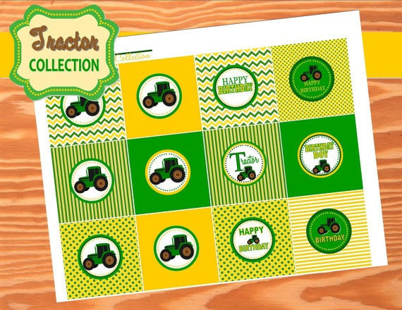 TRACTOR Party- Farm Party- Green Tractor Birthday- CUPCAKE TOPPERS