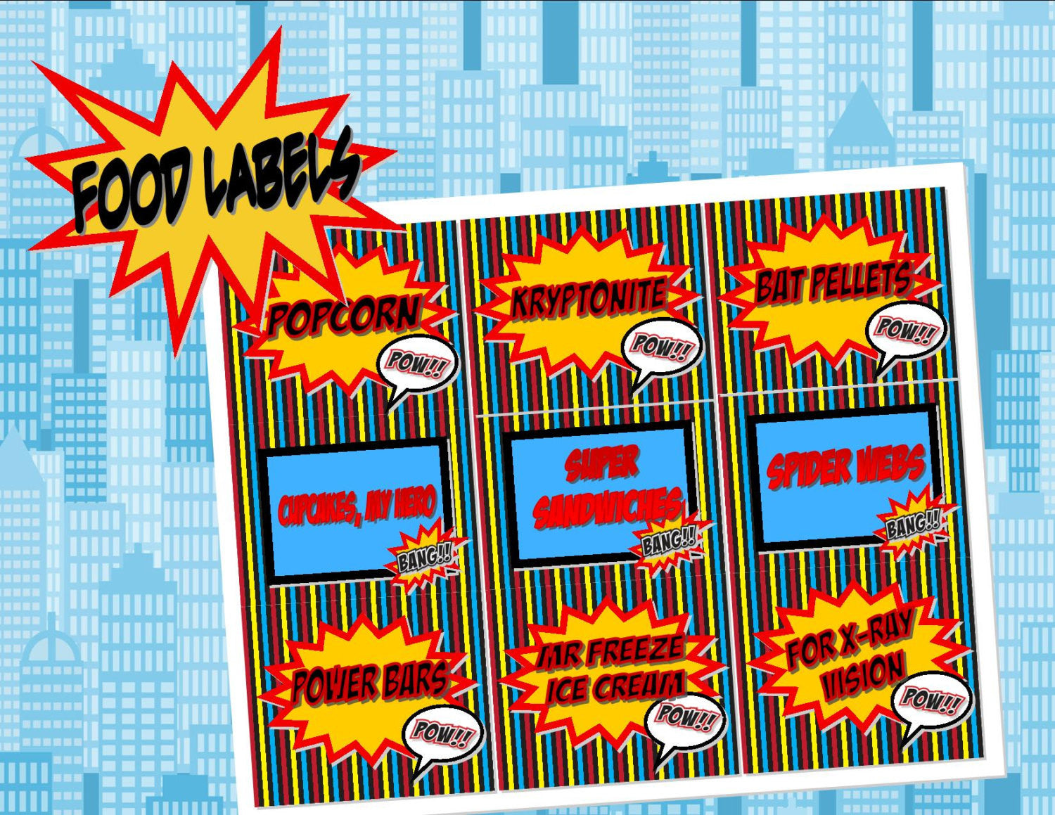 SUPERHERO Party- COMIC BOOK Party- Superhero Birthday- Superhero FOOD LABELS