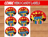 SUPERHERO Party- COMIC Hero Party- Superhero Birthday-  CANDY LABELS