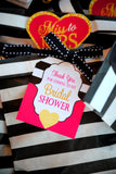 BRIDAL SHOWER- Black and White Stripe- Bridal CUPCAKE TOPPERS