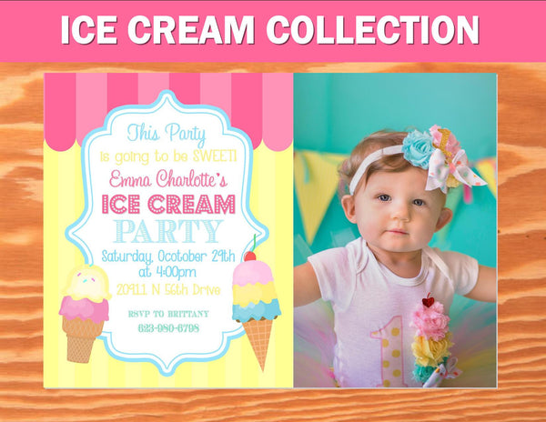 Ice Cream Party INVITATION - ICE CREAM Printables - Ice Cream - Sweet Shop - Ice Cream Shoppe - ICE CREAM INVITE - FIRST BIRTHDAY PARTY