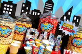 SUPERHERO Party- COMIC Hero Party- CITY SCAPE- Comic Birthday- SUPERHERO Birthday