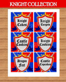 KNIGHT Party - Castle Party - Medieval Party - Knight - King Party - Royal Birthday Party - Dragon Party - FOOD LABELS