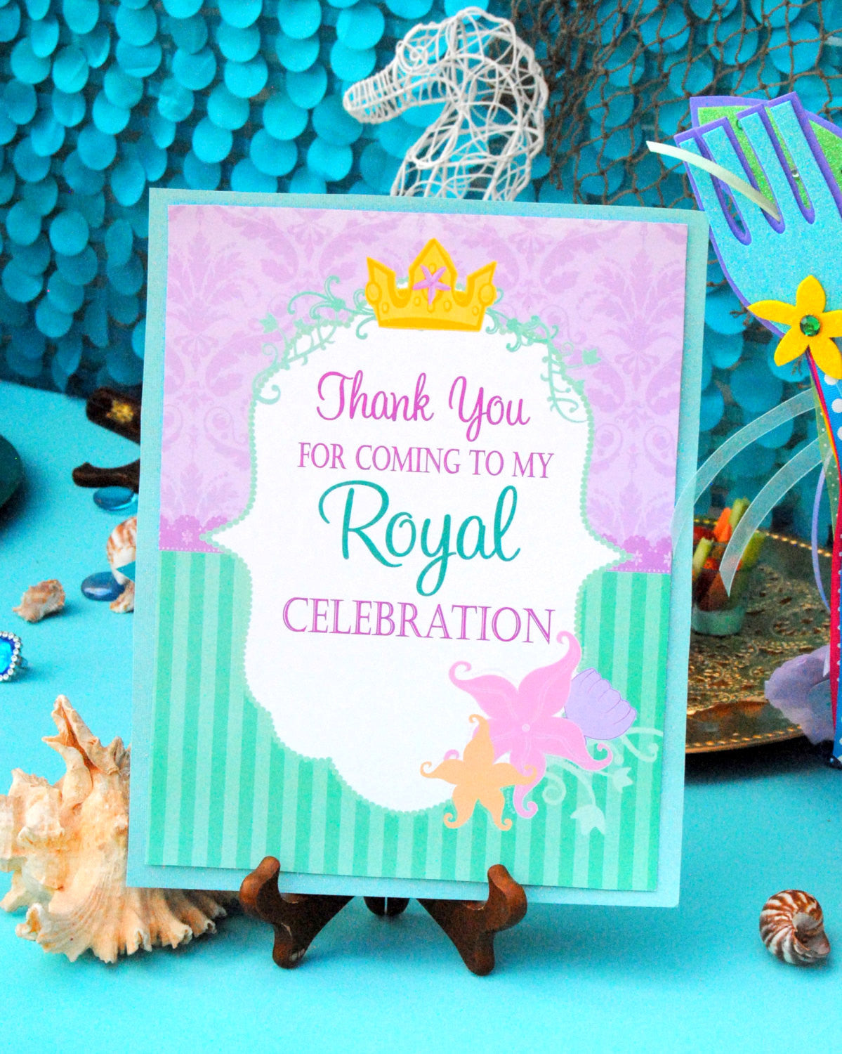 Mermaid Birthday - Mermaid THANK YOU SIGN - Princess Party - Mermaid Party- Mermaid Printables - INSTANT Download