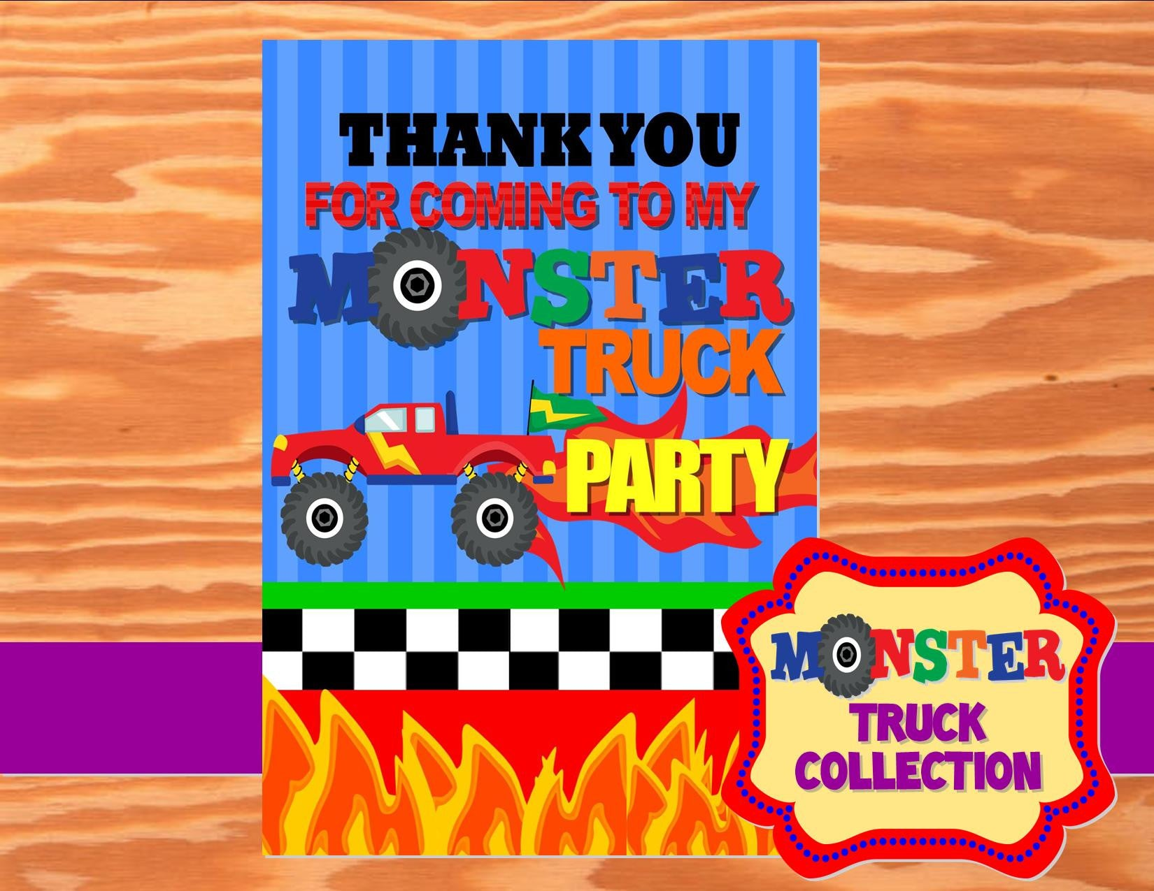 MONSTER Truck - Monster Truck THANK YOU CARDS - Truck Party- Monster Truck Party