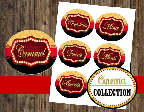 Hollywood - CINEMA Party - MOVIE CANDY LABELS- Red Carpet Party- Theater Party