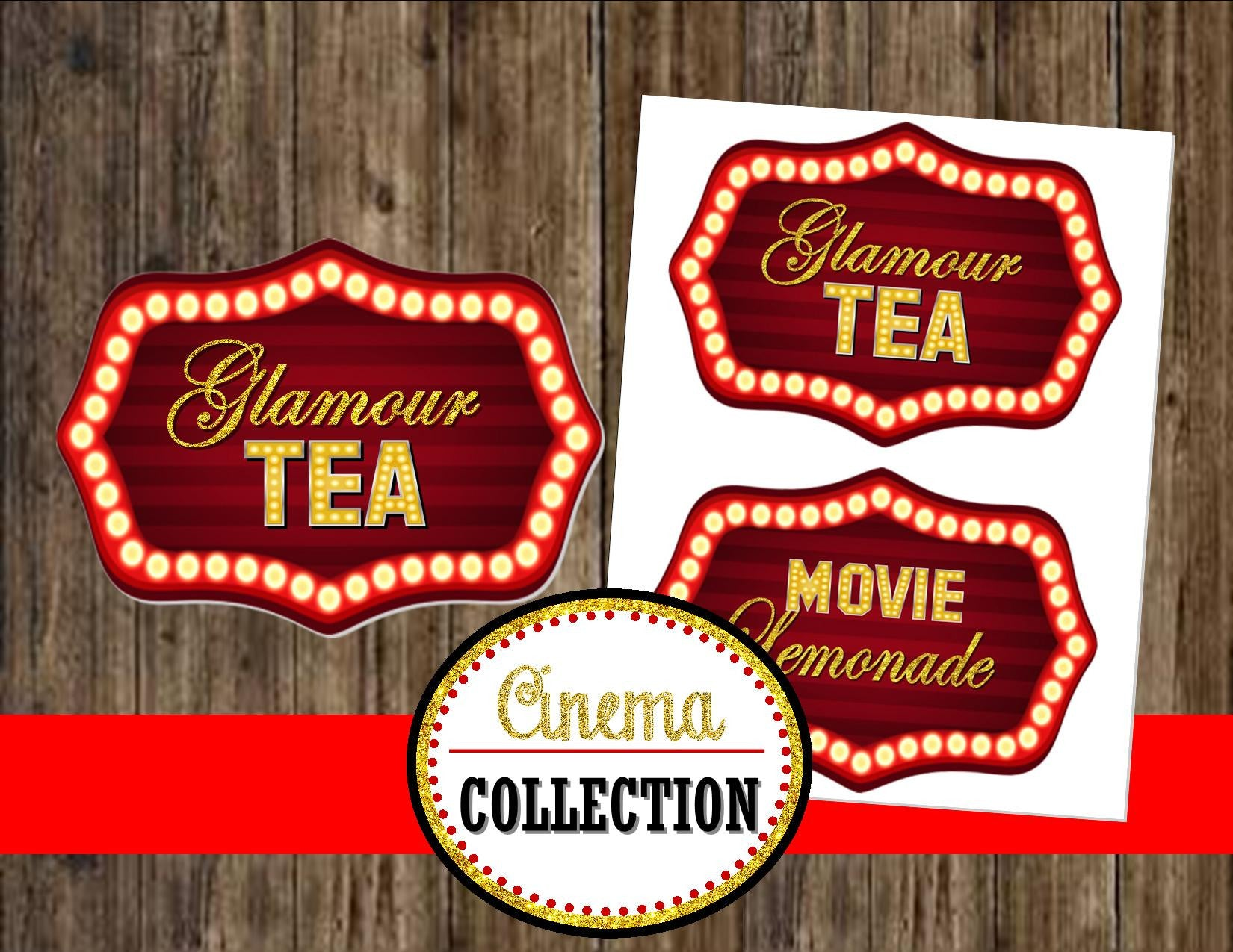 MOVIE PARTY - GLAM - HOLLYWOOD Drink Labels