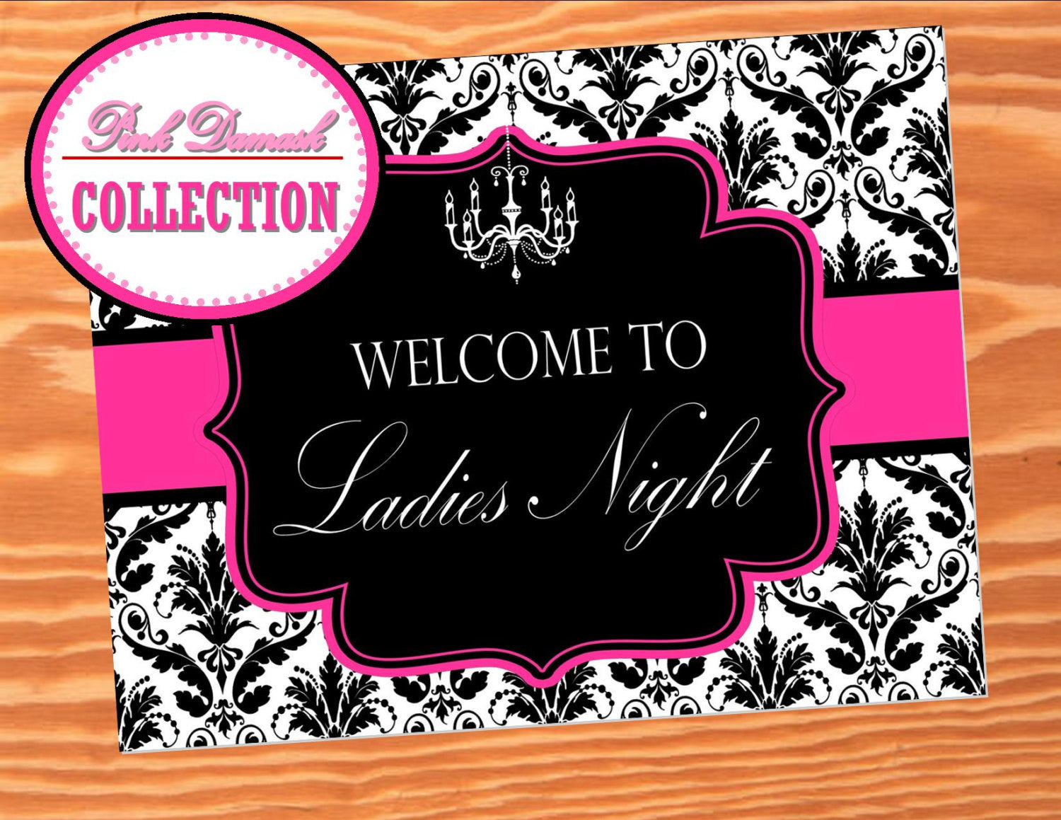 BRIDAL SHOWER - SIGN- Hot PINK - BLACK Damask - Wedding