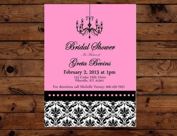 BRIDAL SHOWER- INVITATION- Black and PINK- Black Damask- Pink Wedding
