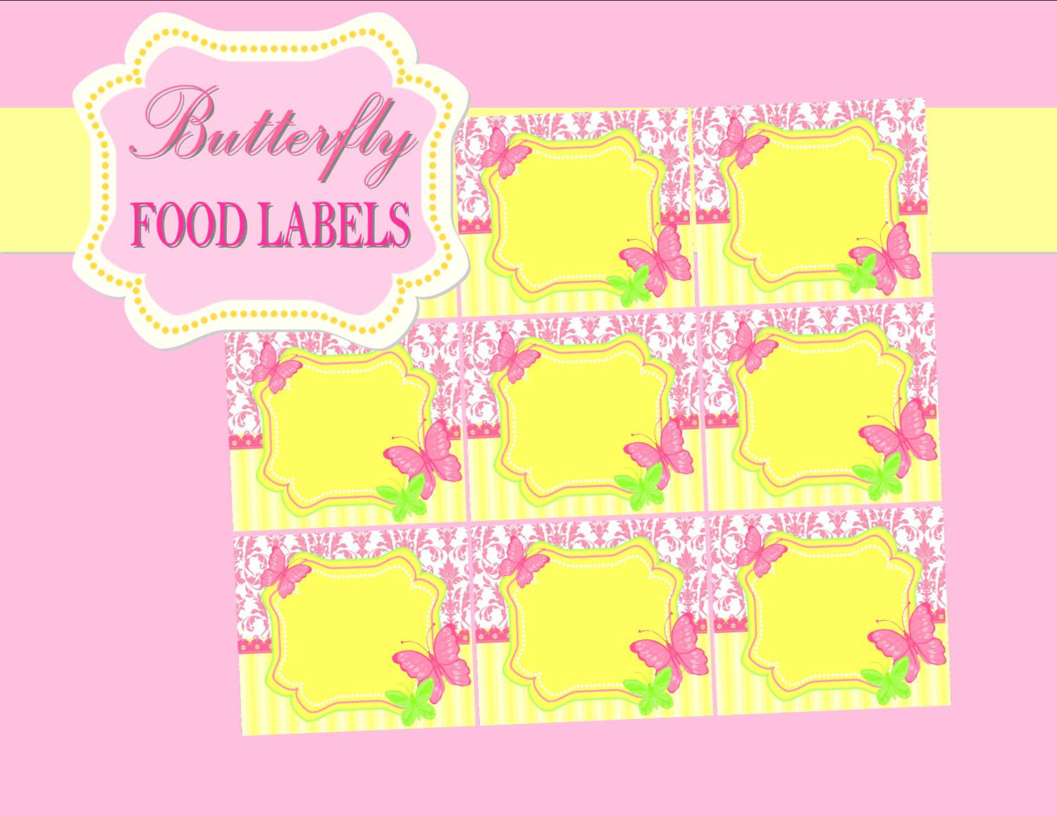 BUTTERFLY Party- LABELS - Birthday Party- Pink Bridal Shower- Adult