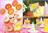 BUTTERFLY Party- Birthday Party- Pink Bridal Shower- STRAW FLAGS- Girl