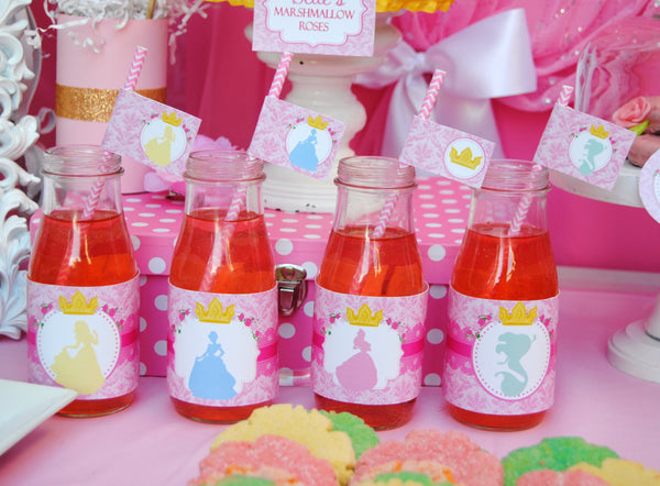PRINCESSES Party - BOTTLE LABELS- Girls Birthday Party - Pink - Printables - INSTANT Download