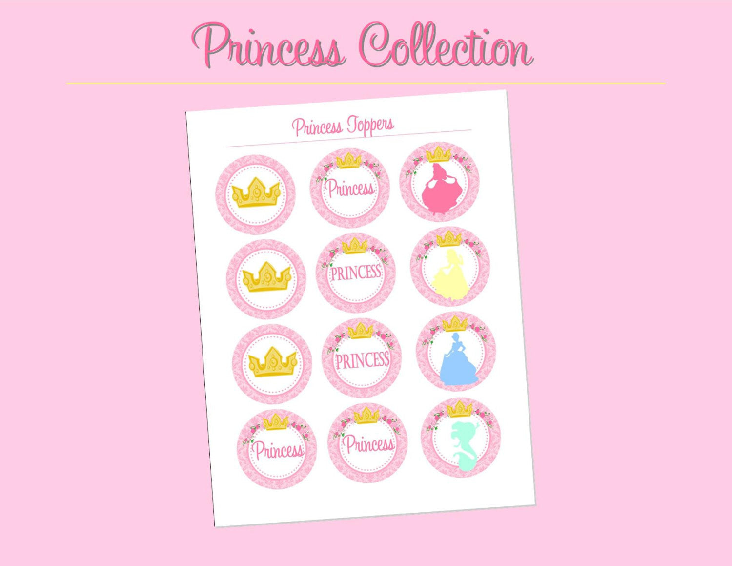 PRINCESSES Party- CUPCAKE TOPPERS- Girls Birthday Party- Pink- Printables - INSTANT Download