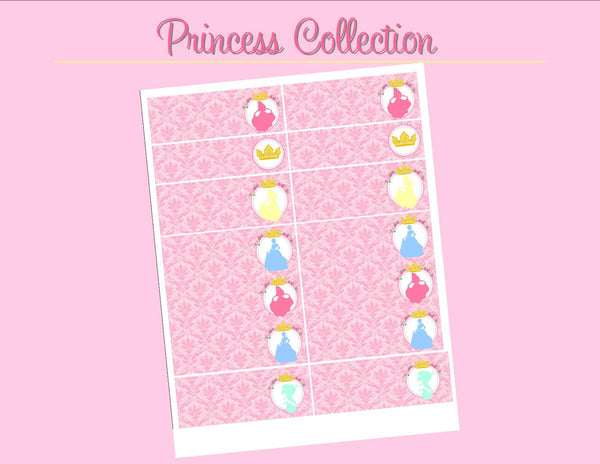 PRINCESSES Party- Girl Birthday Party- Pink- STRAW FLAGS- Printables - INSTANT Download