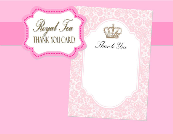 BRIDAL SHOWER - THANK YOU CARD- Pink- Princess- Wedding