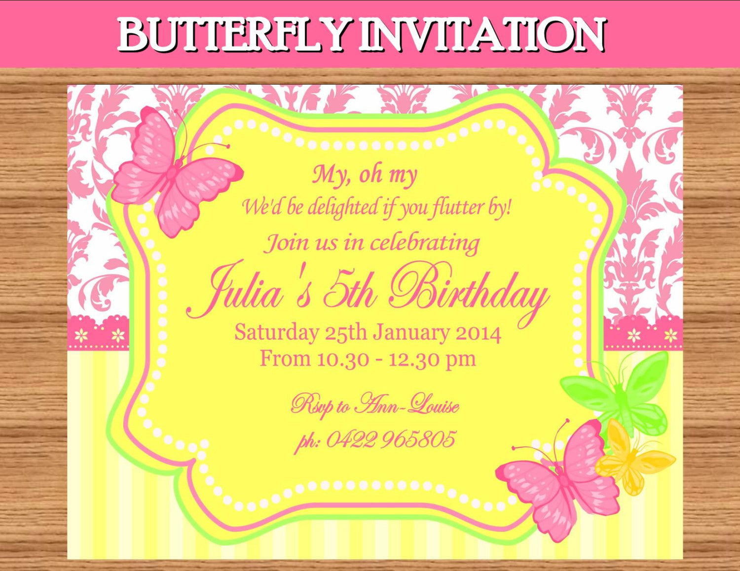 BUTTERFLY INVITATION Birthday Party Wedding Shower Krown – Butterfly Invitations Birthday