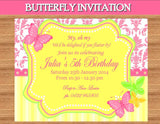BUTTERFLY Party - BOTTLE- Birthday - Bridal Shower- Pink Butterfly