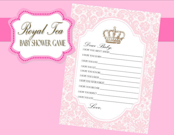 BABY SHOWER - Baby Shower GAME - Princess Baby - Pink Shower