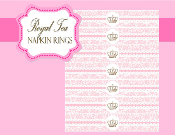 BRIDAL SHOWER - NAPKIN RINGS - Pink- Princess- Wedding