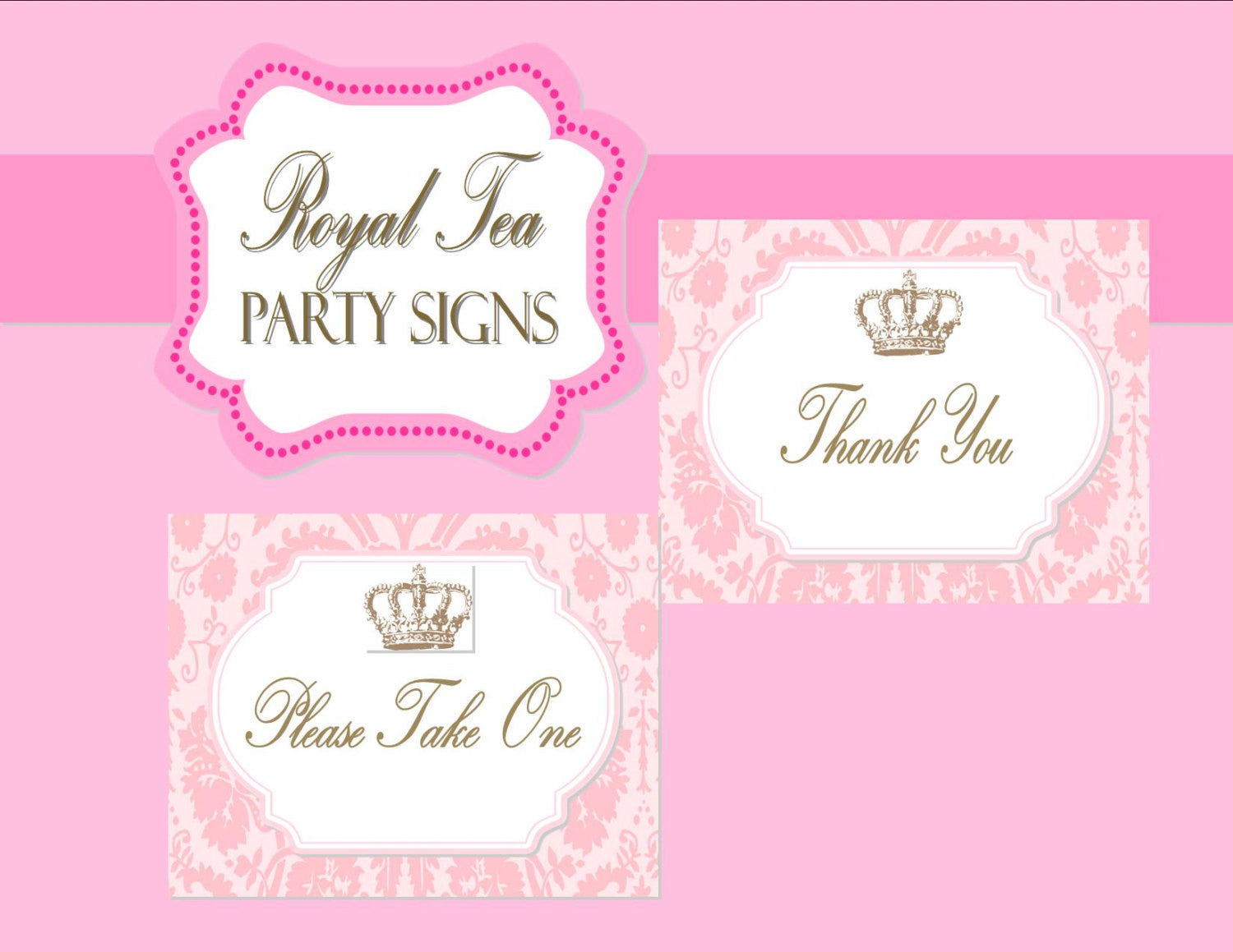 BRIDAL Shower - PARTY SIGNS- Pink- Princess- Pink Wedding