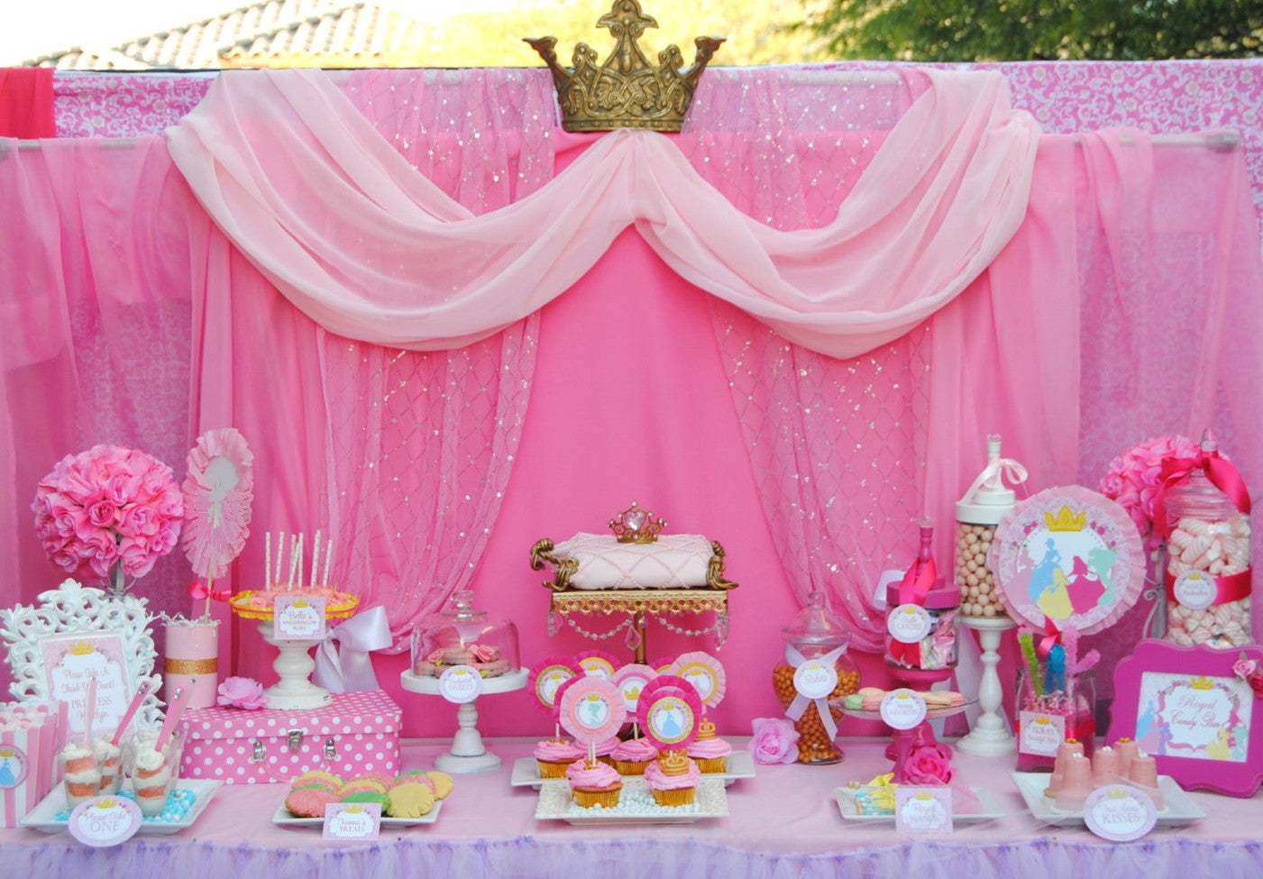 graphic relating to Princess Party Printable known as ALL PRINCESSES Get together - In depth- Females Birthday Celebration - Purple Princess Bash- Printables - Fast Down load