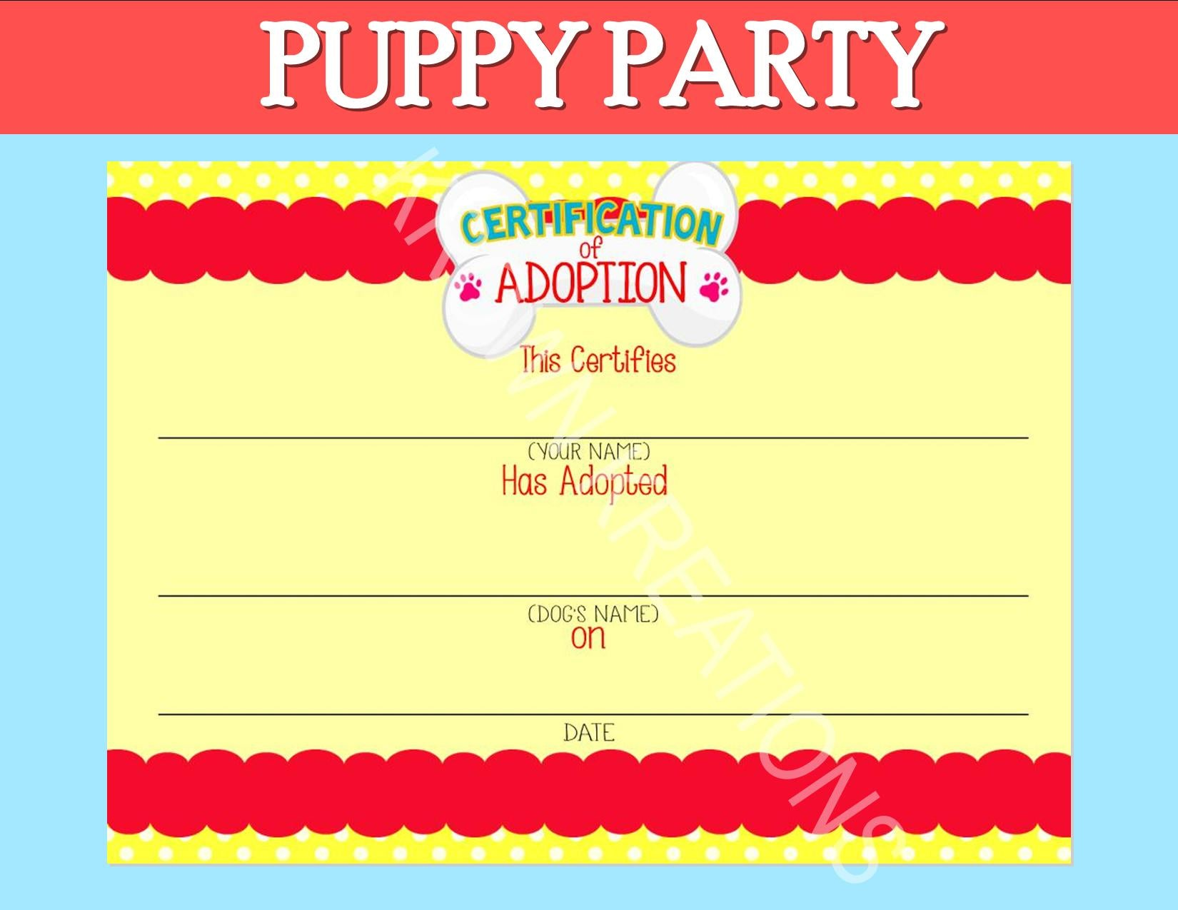 Puppy Party Dog Adoption Party Puppy Birthday Dog Certificate