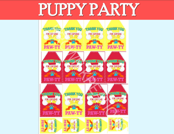 PUPPY PARTY - Dog Adoption Party - Puppy Birthday - Dog THANK  YOU TAGS - Dog Party - Girl Birthday Party