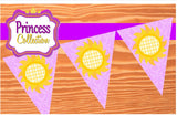 PRINCESS Party Decorations- BANNER- Printables- Princess Party-Tower- Crown