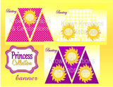 PRINCESS Party- Party Printable-Princess Party Decorations- BUNTING