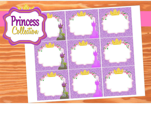 PRINCESS Party- Princess Party Ideas- Tower- Crown- Printable- FOOD LABELS