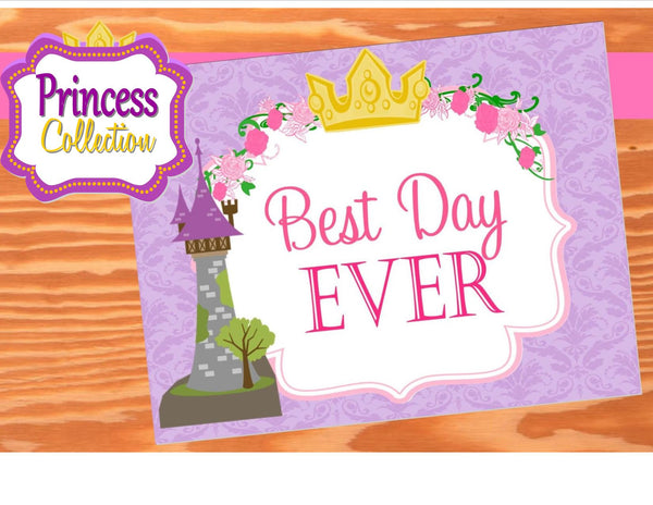 PRINCESS Party- Printable- Princess Party Decorations- Tower- Crown-PURPLE- SIGNS