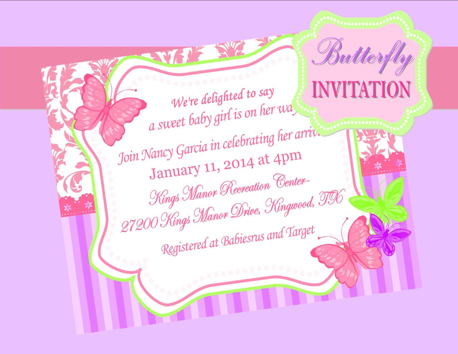 BUTTERFLY INVITATION - Birthday Party - Wedding- Shower