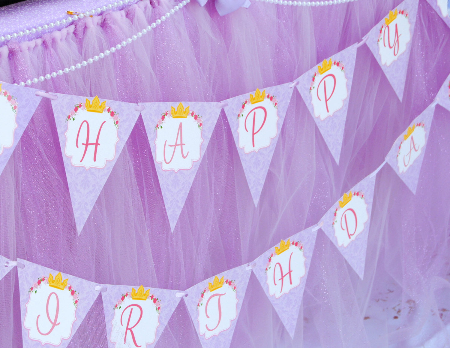 PURPLE- BANNER- Printable- Princess Party - Baby Shower