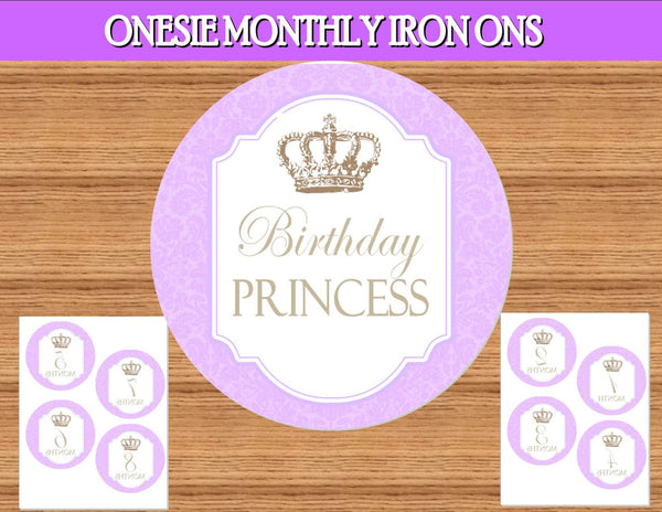 Princess Party- PURPLE Princess Party - Monthly IRON ON