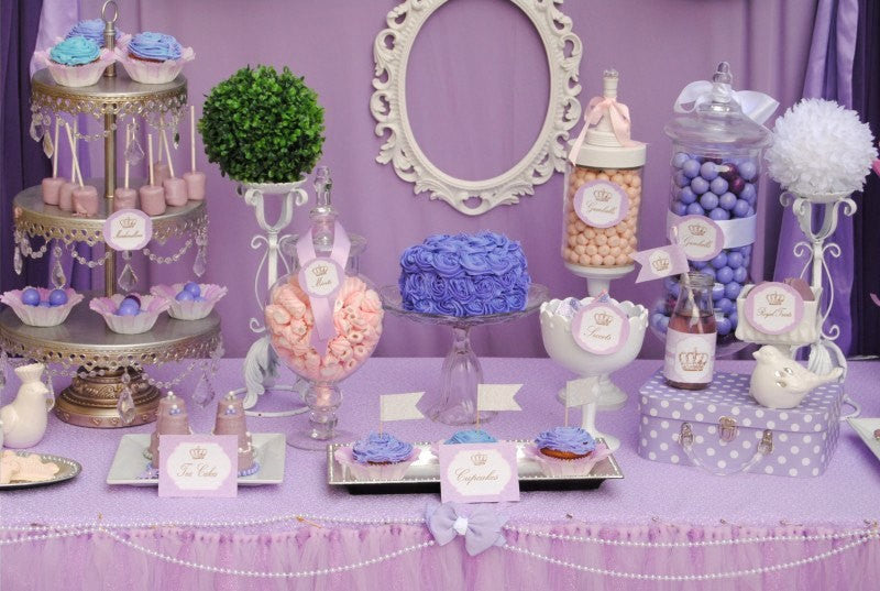Bridal SHOWER- Purple- Princess- Baby- FOOD LABELS