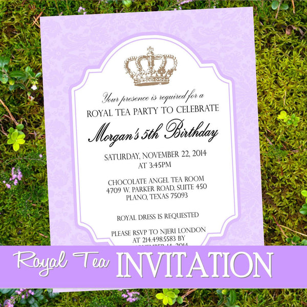 ROYAL TEA INVITATION - Purple- Crown Invite - Purple Wedding
