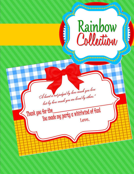 RAINBOW PARTY - Red Slippers - Dorothy  THANK YOU CARDS