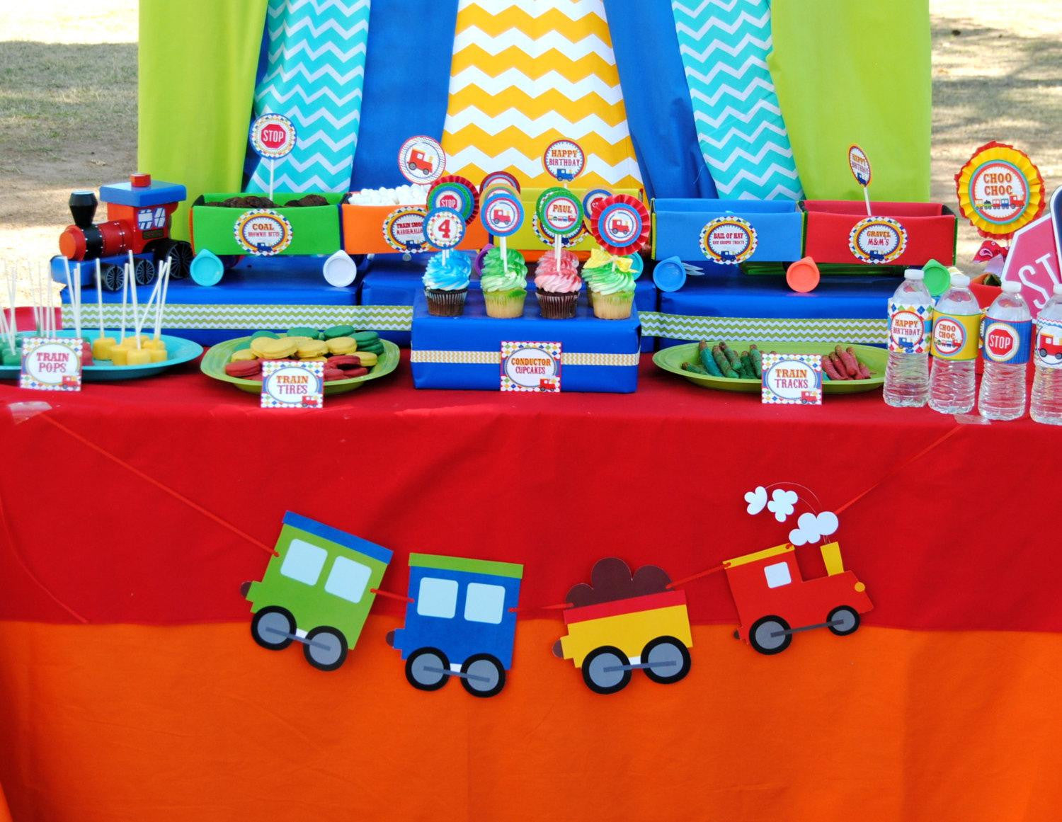 TRAIN Party Train Decorations CUPCAKE TOPPERS Train Birthday