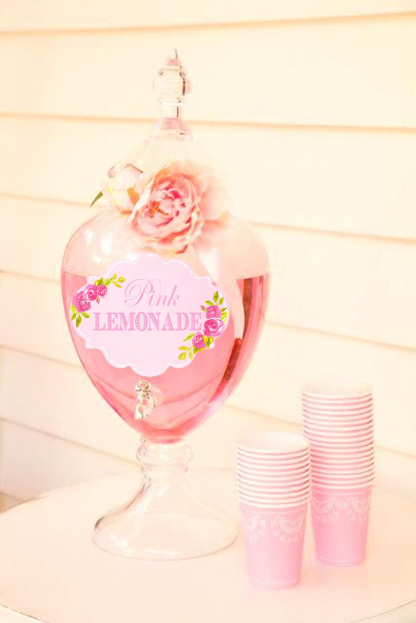 PINK BRIDAL SHOWER - SHOWER DRINK LABELS - Adult Party- WEDDING