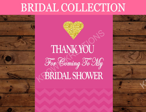 Bridal Shower THANK YOU SIGN - Pink Bridal Shower Sign
