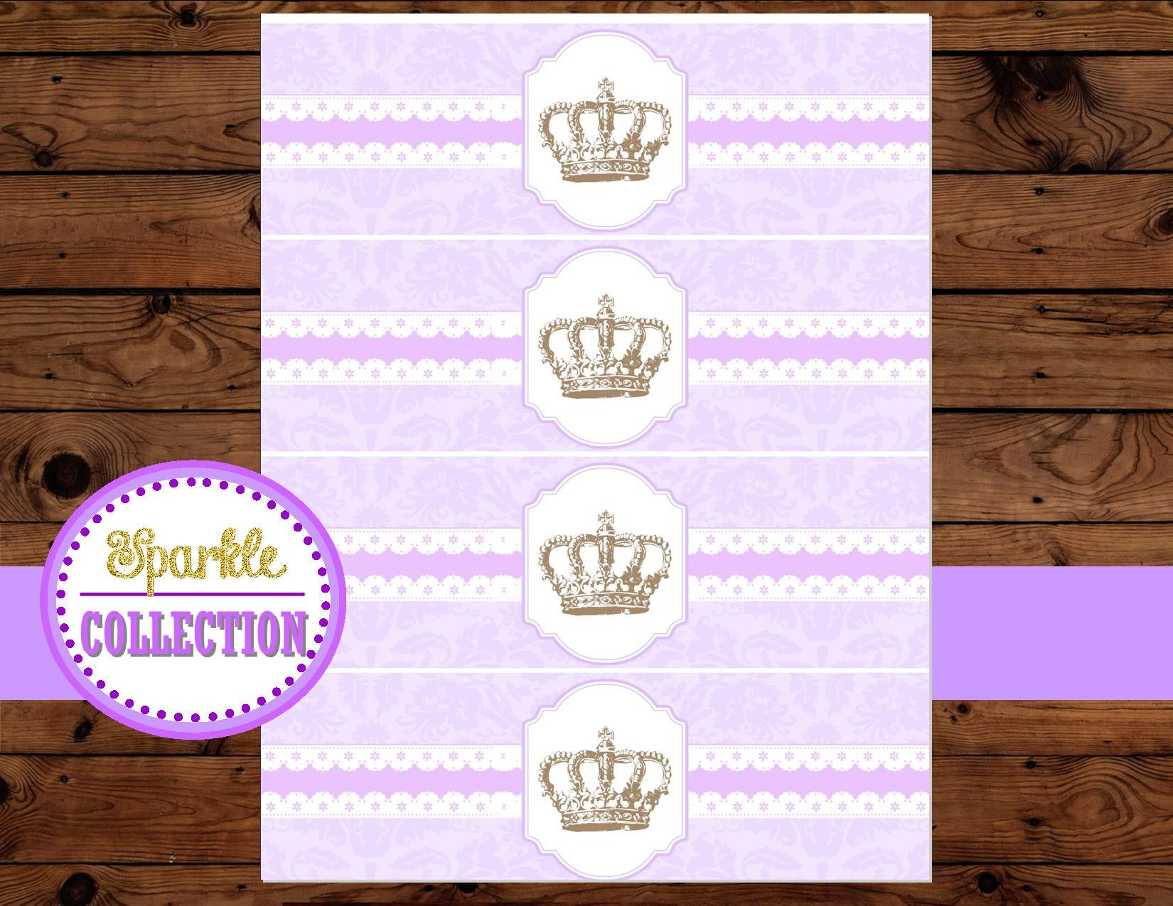 BRIDAL SHOWER - BOTTLE LABELS- Purple- Princess Party - Purple Wedding