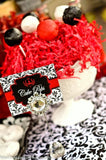 BRIDAL SHOWER- Black and Red Damask- Red Wedding- CUPCAKE TOPPERS
